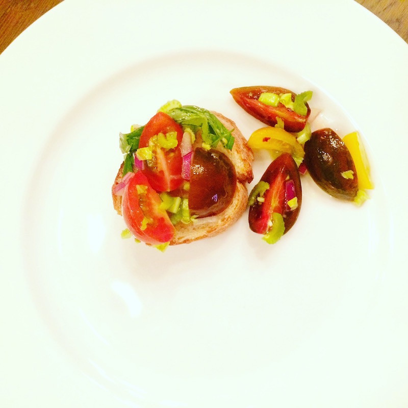 baby heirloom tomatoes and celery make an Inviting Bruschetta